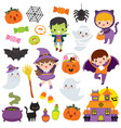 kawaii cute halloween clipart set vector image vector image