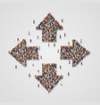 large group people in arrows form vector image vector image