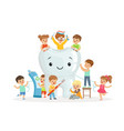 little children take care and clean a large vector image vector image
