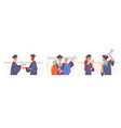 masters and bachelors students graduation online vector image