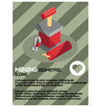 mining color isometric poster vector image