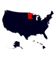 Minnesota State in the United States map vector image vector image