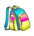 modern tourist backpack suitcase color vector image vector image