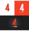 number four 4 logo design icon set background vector image