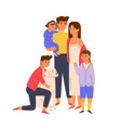 portrait big happy family standing together vector image vector image