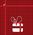 present box on red with ribbons vector image vector image