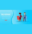 recruitment banner inscription full-time search vector image vector image