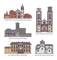 set montenegro building landmarks in thin line vector image