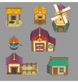 set of rural buildings Create your own cartoon vector image