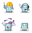 set of tablet character with automotive headphone vector image vector image