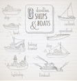 set of vintage doodles marine vehicles vector image