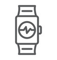 smart watch line icon clock and digital gadget vector image