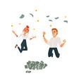 successful office man woman under money vector image