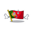 surprised flag portugal with mascot shape vector image vector image