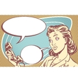 surprised girl talking on the phone vector image vector image