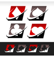 Swoosh Poker Icons vector image vector image