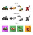 tractor hay balancer and other agricultural vector image