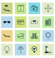 travel icons set with medicine seaside place vector image vector image