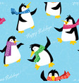 xmas penguins in a bright scarfs dancing on ice vector image