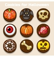 Cartoon funny Chocolate Halloween Cookies vector image