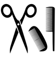 barber tools icon with scissors and comb vector image vector image