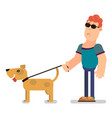 blind man with a dog vector image