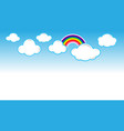 blue background with paper clouds and rainbow vector image