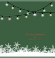 christmas lights realistic on green background vector image vector image