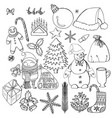 collection of christmas objects and characters vector image