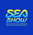 colorful logo sea show with glossy font vector image