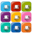 Colourful buttons with mugs and saucers vector image vector image