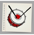 Doodle hand-drawn bass drum instrument vector image