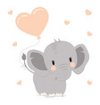 elephant with heart vector image vector image