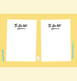 flat template sheets of paper on the desktop vector image