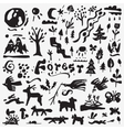 forest icons set vector image vector image