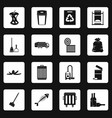 garbage thing icons set squares vector image vector image