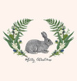 green floral wreath with rabbit vector image