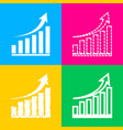 growing graph sign four styles of icon on four vector image vector image