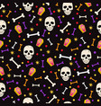 halloween skull seamless pattern on black vector image vector image