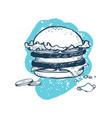 hamburger hand drawn icon vector image vector image