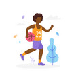 happy afro-american boy running and playing vector image
