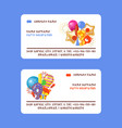 happy birthday badges set business cards vector image