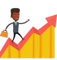 Happy businessman running on profit chart vector image vector image