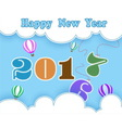 happy new year with balloon and cloud vector image vector image