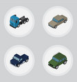 isometric automobile set of armored auto suv and vector image vector image