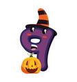 kawaii cartoon number nine halloween character vector image
