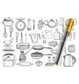 kitchenware and utensils doodle set vector image