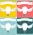 light bulb with wings idea concept vector image vector image