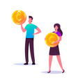 male and female business characters holding golden vector image vector image