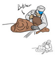 male butcher chopping meat sketch vector image